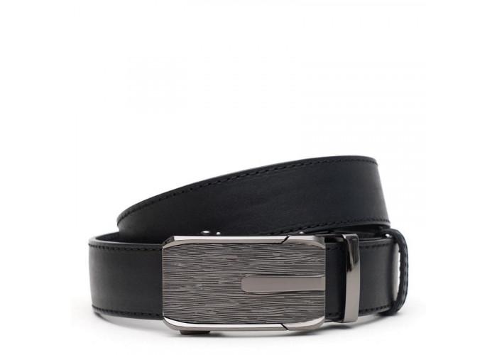 Кожаный мужской ремень с пряжкой автомат V1115GX45-black