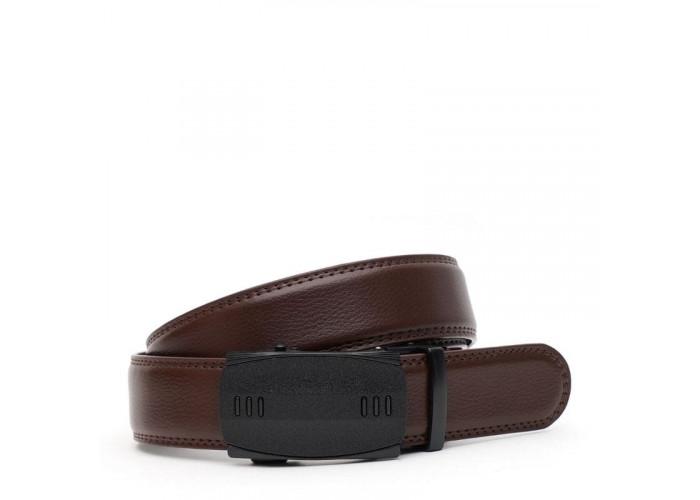 Кожаный мужской ремень с пряжкой автомат V1GKX33-brown