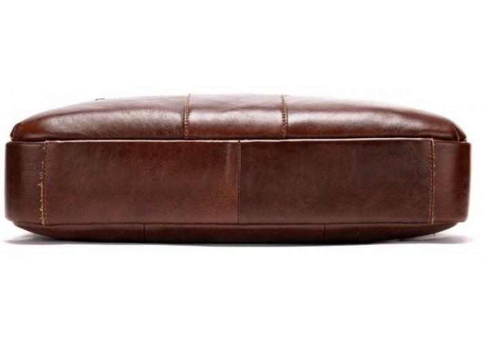 Деловая мужская сумка из зернистой кожи Vintage 14836 Коричневая