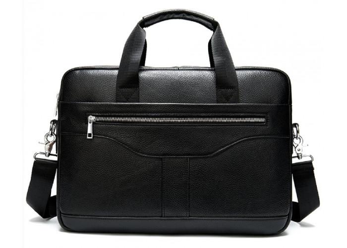 Деловая мужская сумка из зернистой кожи Vintage 14886 Черная