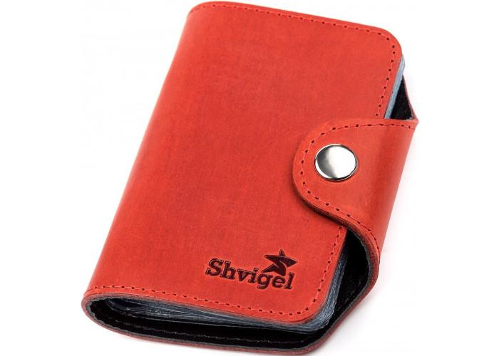Визитница вертикальная Shvigel 13910 кожаная Красная