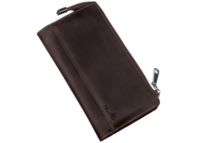 Клатч мужской кожаный матовый SHVIGEL 16189 Коричневый