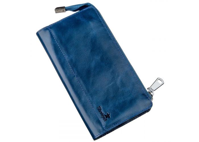 Клатч унисекс кожаный глянцевый SHVIGEL 16183 Синий