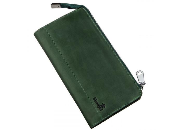 Клатч унисекс кожаный винтаж SHVIGEL 16188 Зеленый