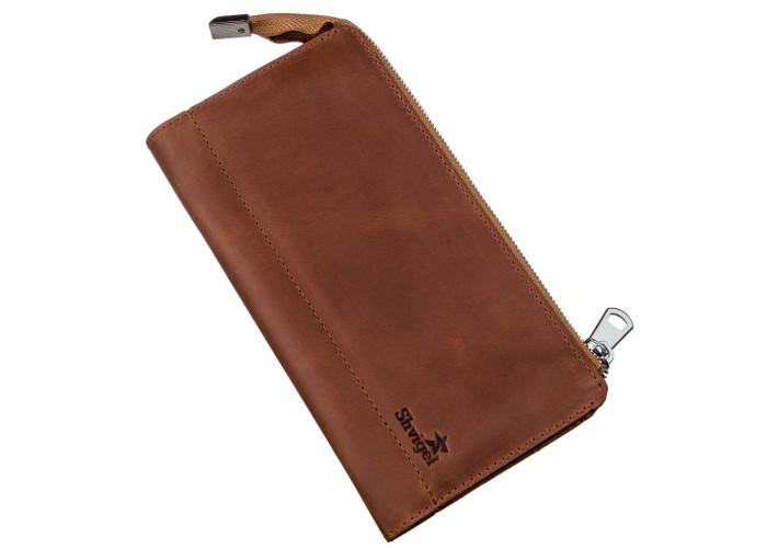 Клатч унисекс кожаный винтаж SHVIGEL 16190 Рыжий