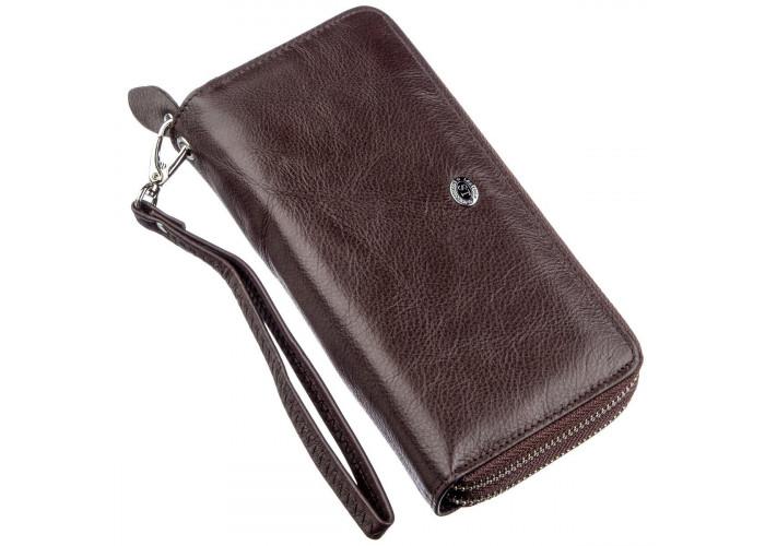 Женский клатч с ремешком на запястье ST Leather 18867 Коричневый