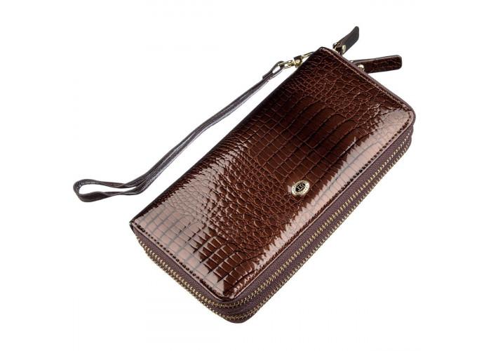 Женский лаковый клатч ST Leather 18908 Коричневый