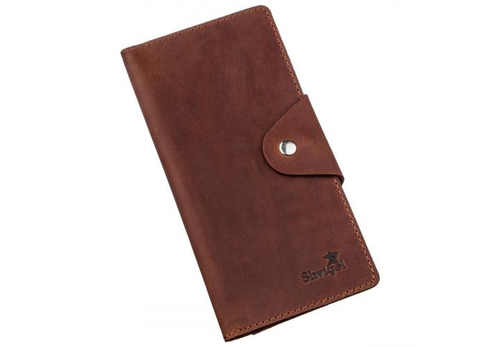 Бумажник мужской из винтажной кожи SHVIGEL 16167 Коричневый