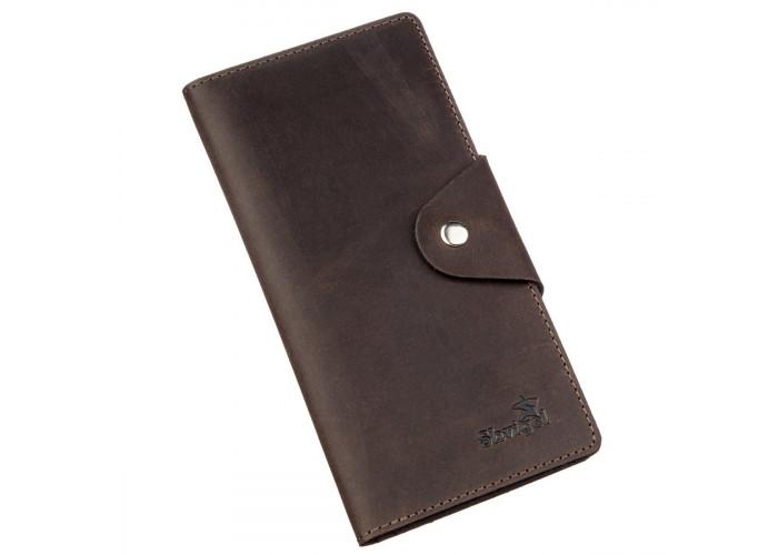 Бумажник мужской из винтажной кожи SHVIGEL 16169 Коричневый