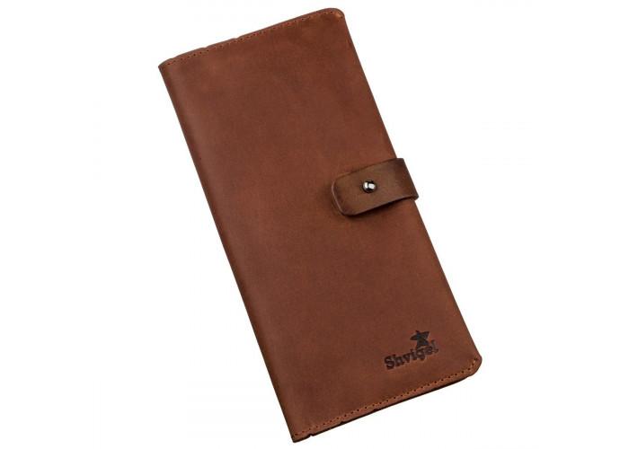 Бумажник мужской из винтажной кожи SHVIGEL 16208 Коричневый