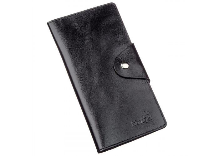 Бумажник мужской вертикальный из кожи алькор на кнопках SHVIGEL 16177 Черный