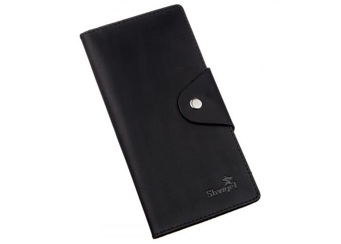 Бумажник мужской вертикальный из винтажной кожи на кнопках SHVIGEL 16182 Черный