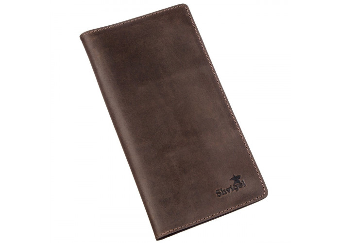Бумажник мужской вертикальный матовый SHVIGEL 16198 Коричневый