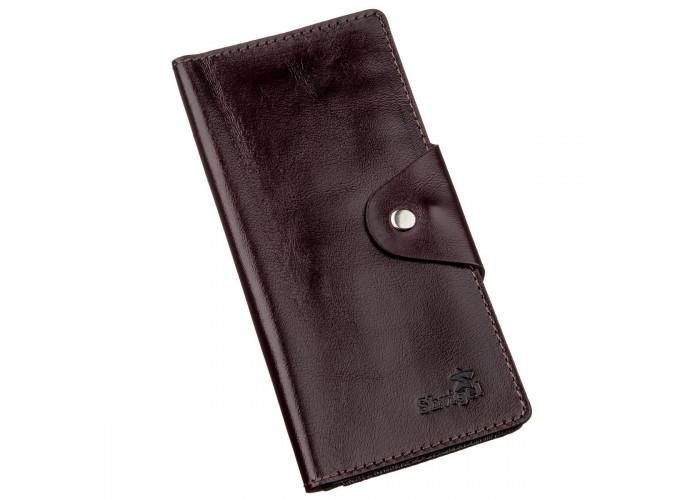 Бумажник мужской вертикальный на кнопках SHVIGEL 16175 Коричневый