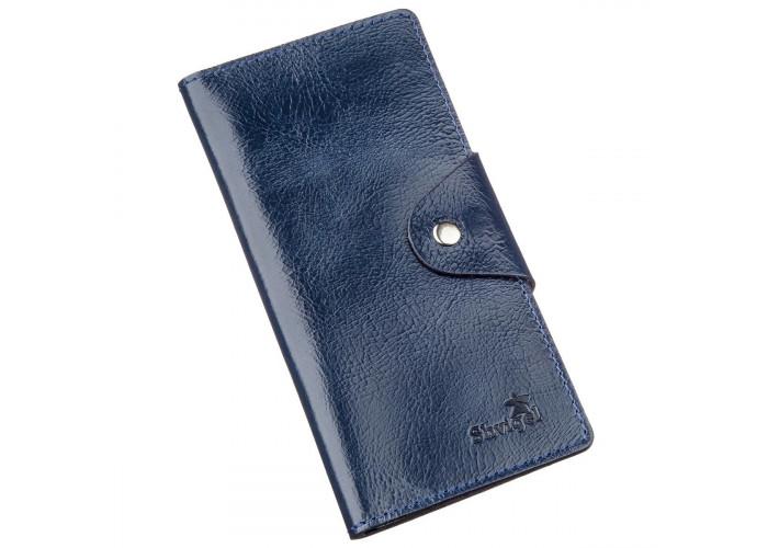 Бумажник унисекс из кожи алькор на кнопках SHVIGEL 16170 Синий