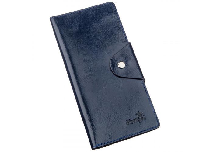 Бумажник унисекс вертикальный из кожи алькор на кнопках SHVIGEL 16174 Синий