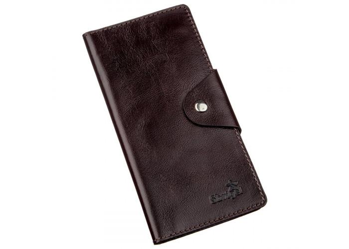 Бумажник вертикальный из кожи алькор на кнопках SHVIGEL 16171 Коричневый