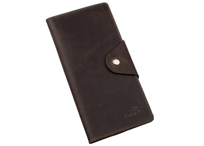 Бумажник вертикальный из винтажной кожи на кнопках SHVIGEL 16180 Коричневый