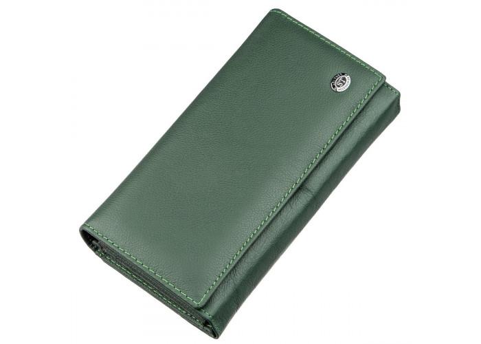 Кожаный кошелек с монетницей ST Leather 18879 Зеленый