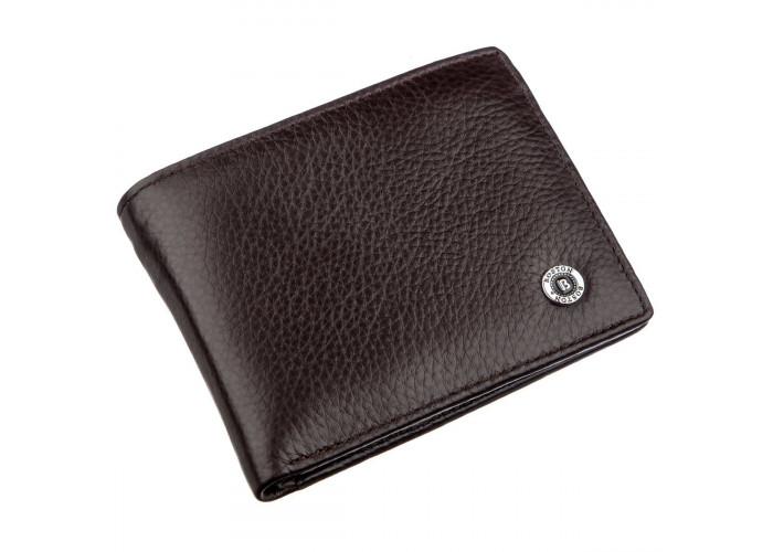 Кожаный мужской бумажник на магните Boston 18829 Коричневый