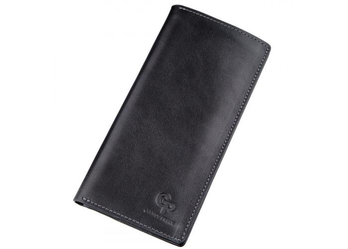 Вертикальный бумажник унисекс на магните GRANDE PELLE 11212 Черный