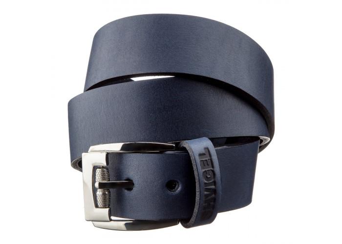 Классический мужской ремень SHVIGEL 11254 кожаный Синий