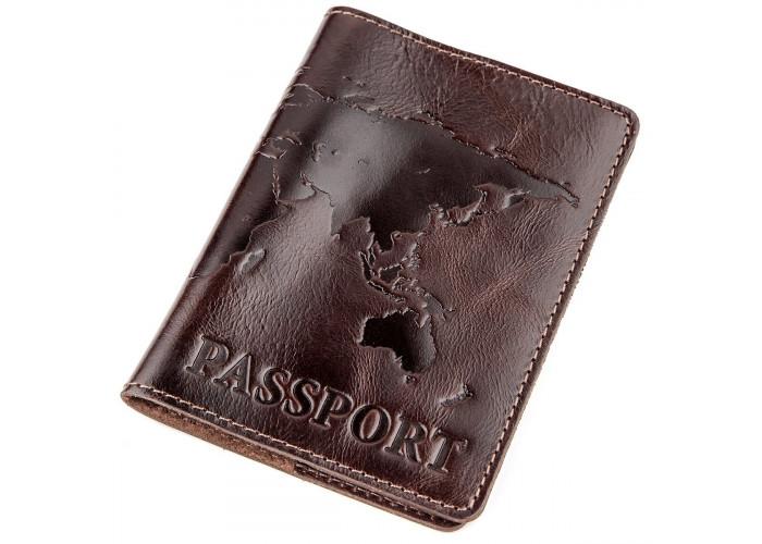 Кожаная обложка на паспорт с картой SHVIGEL 13946 Коричневая