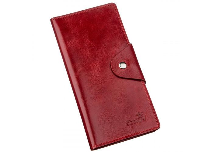 Бумажник женский вертикальный из кожи алькор на кнопках SHVIGEL 16172 Красный
